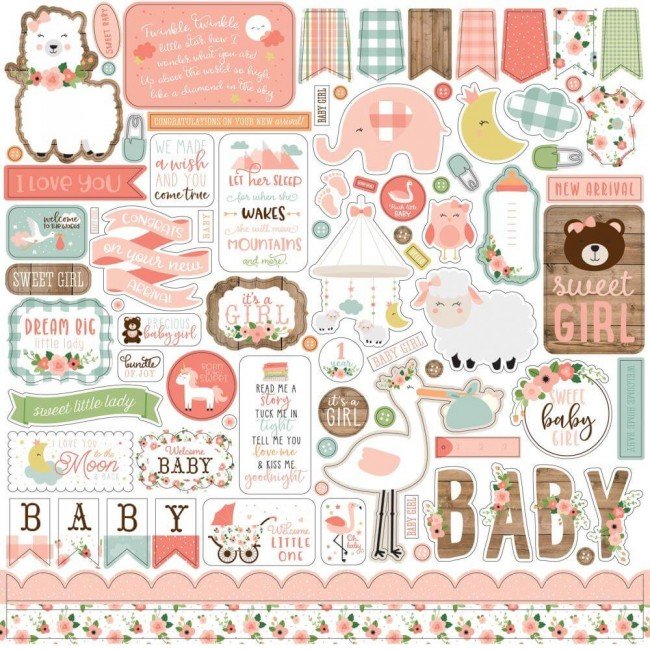 Pegatinas 12x12 Baby Girl Elements