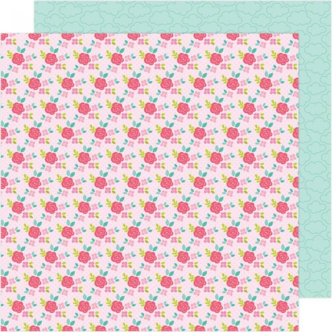 Papel Estampado Doble Cara 12x12 Love Notes Rose Trellis