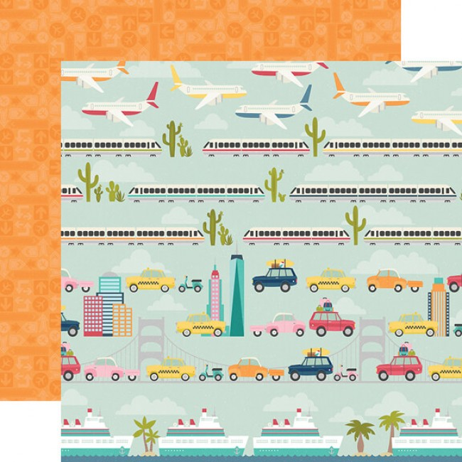 Papel Estampado Doble Cara 12x12 Going Places Enjoy The Ride