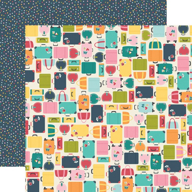 Papel Estampado Doble Cara 12x12 Going Places Pack Your Bags