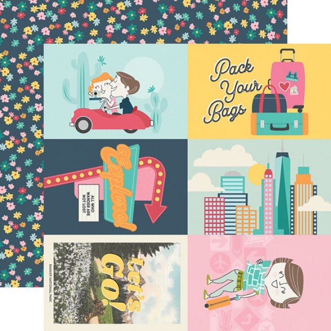 "Papel Estampado Doble Cara 12x12 Going Places 4""X6"" Elements"