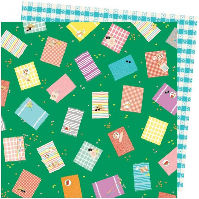Papel Estampado Doble Cara 12x12 Picnic In The Park Amy Tangerine From Above