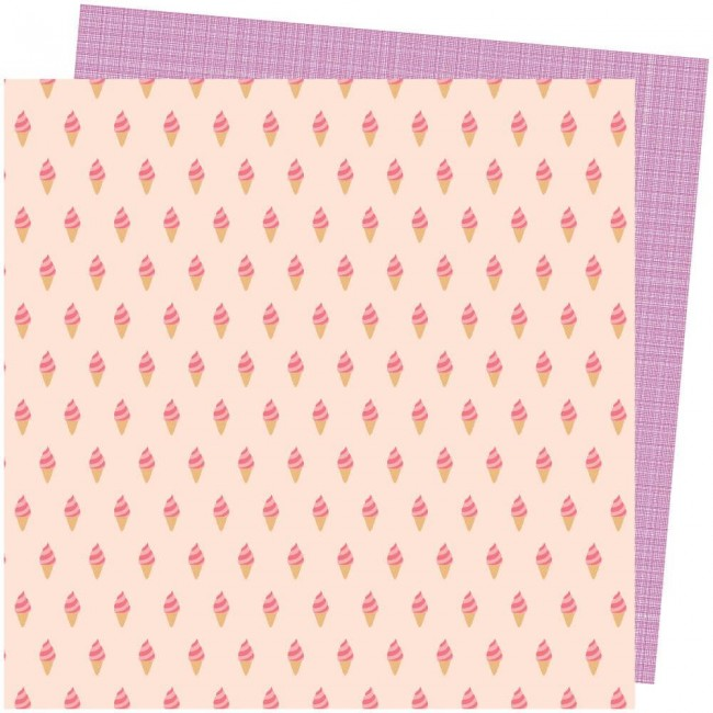 Papel Estampado Doble Cara 12x12 Picnic In The Park Amy Tangerine Soft Serve