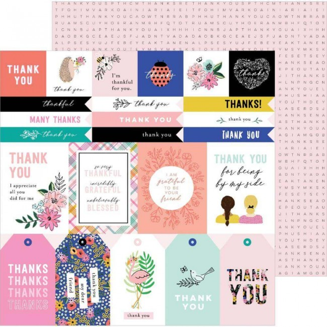 Papel Estampado Doble Cara 12x12 Hey. Hello! Jen Hadfield Thank You Sentiments