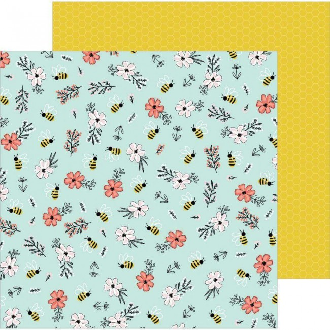 Papel Estampado Doble Cara 12x12 Hey. Hello! Jen Hadfield Bee Blossoms