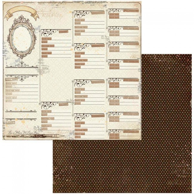 Papel Estampado Doble Cara 12x12 Family Heirlooms Pedigree