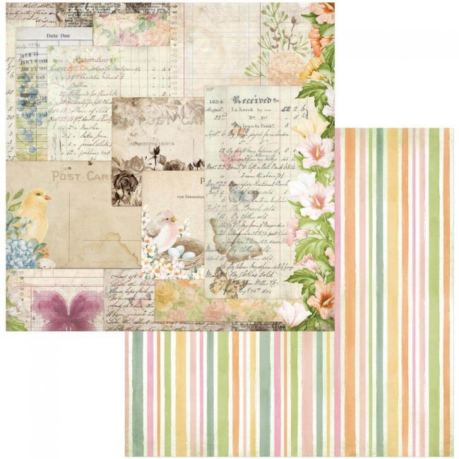 Papel Estampado Doble Cara 12x12 Garden Grove Postcards