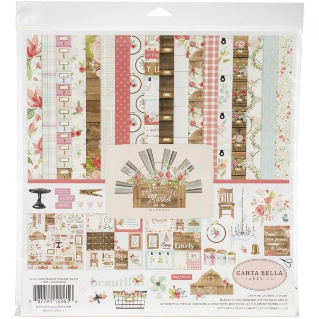 Kit Papeles Estampados 12x12 Farmhouse Market