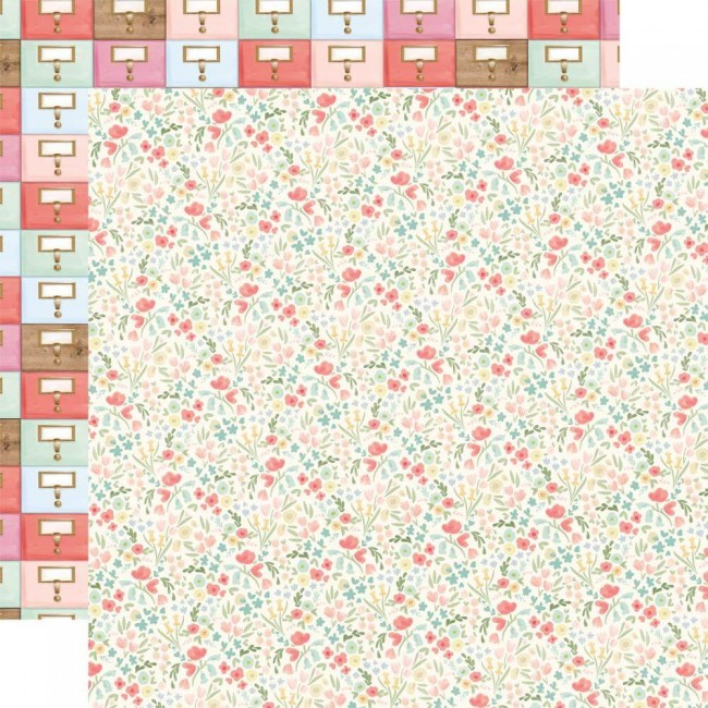 Papel Estampado Doble Cara 12x12 Farmhouse Market Antique Floral