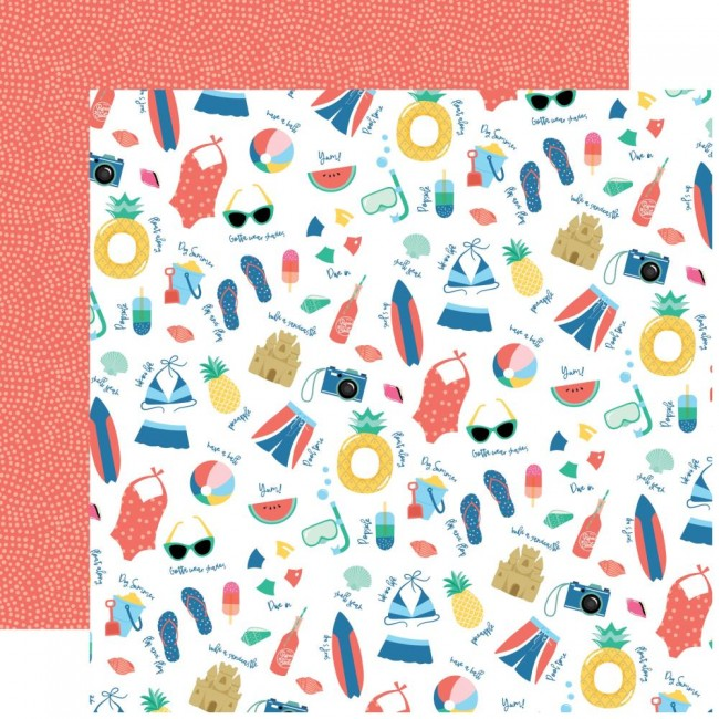 Papel Estampado Doble Cara 12x12 Dive Into Summer Pool Time