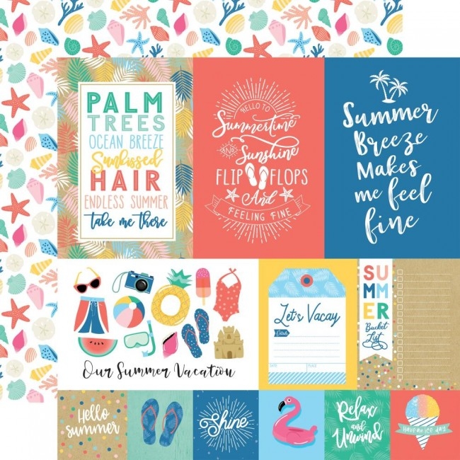 Papel Estampado Doble Cara 12x12 Dive Into Summer Multi Journaling Cards