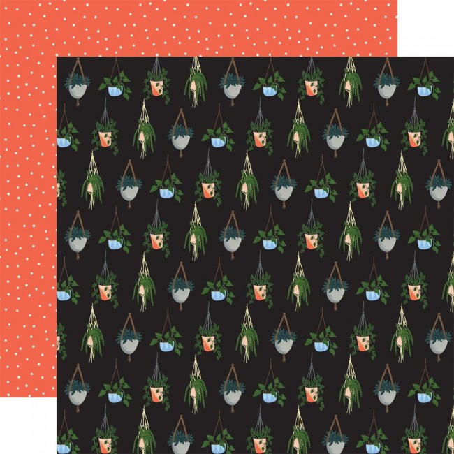 Papel Estampado Doble Cara 12x12 Plant Lady Hanging Plant