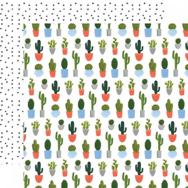 Papel Estampado Doble Cara 12x12 Plant Lady Cacti