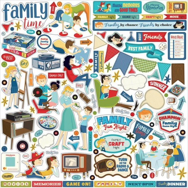 Pegatinas 12x12 Family Night Elements