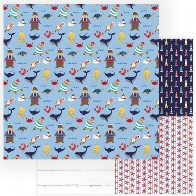 Papel Estampado Doble Cara 12x12 Monterey Bay On The Deck