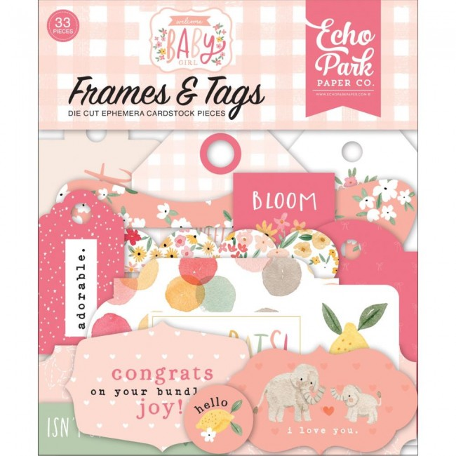 Die Cuts Welcome Baby Girl frames & tags