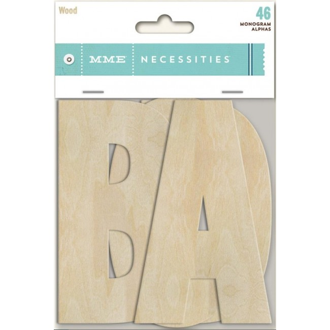 Die Cuts Necessities Monogram alphas Wood Print