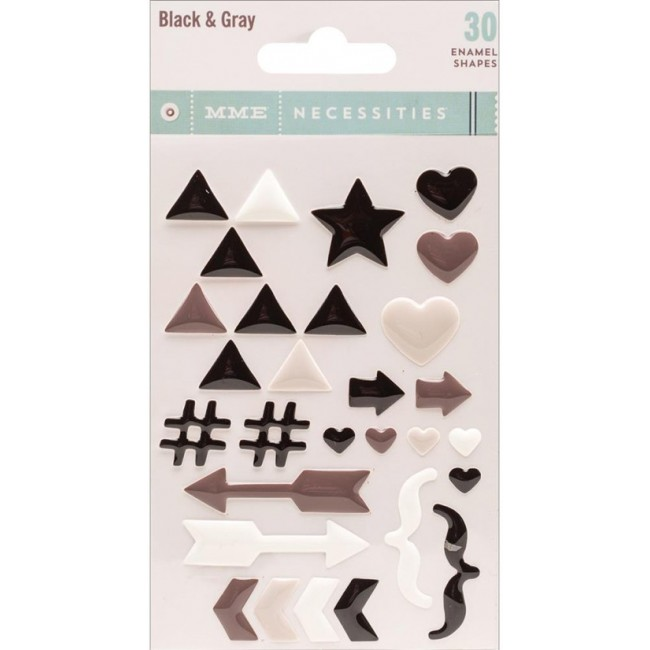Die Cuts Necessities Black & Grey Enamel Shapes