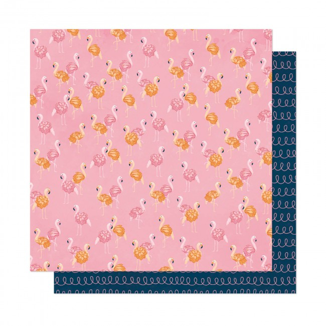 Papel Estampado Doble Cara 12x12 It's All Good Let's Flamingle