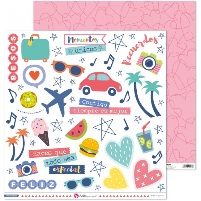 Papel Estampado Doble Cara 12x12 Momentos Recortables