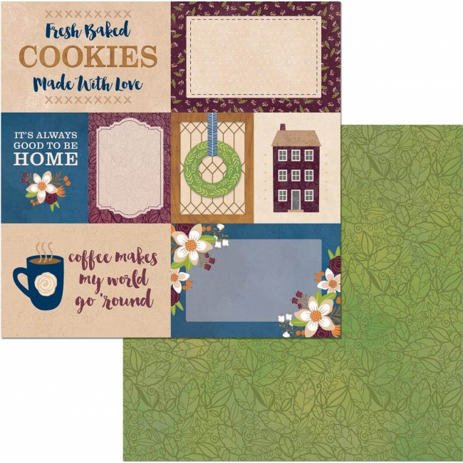 Papel Estampado Doble Cara 12x12 - Stay Awhile - Cozy