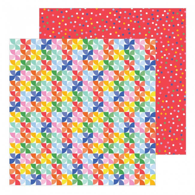 Papel Estampado Doble Cara 12x12 Big Top Dreams Pinwheels