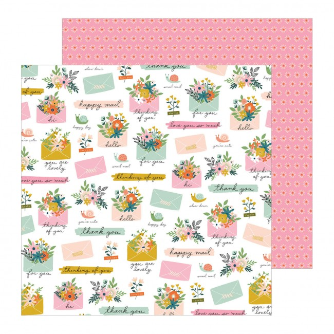 Papel Estampado Doble Cara 12x12 This Is Family Snail Mail