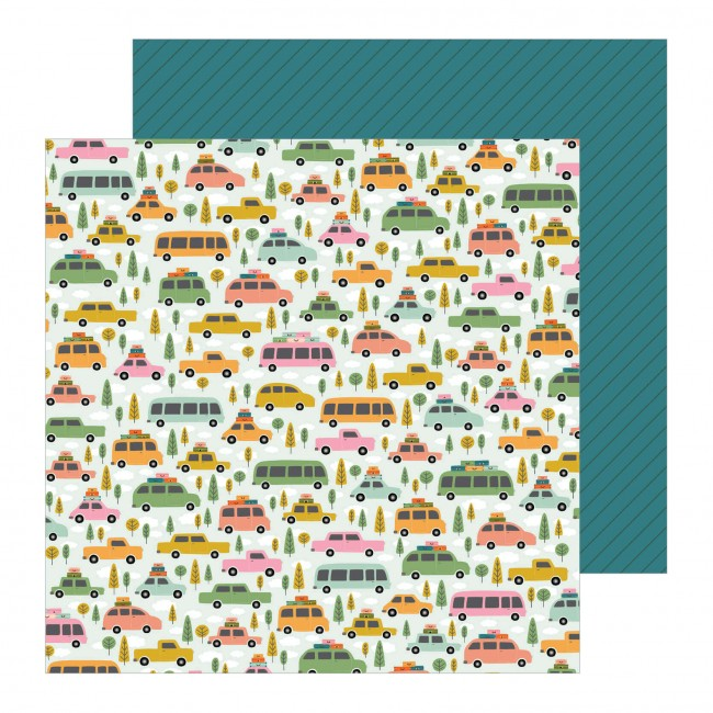 Papel Estampado Doble Cara 12x12 This Is Family Road Trip