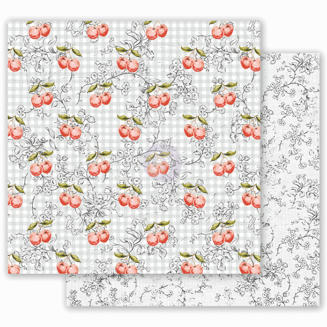 Papel Estampado Doble Cara 12x12 Fruit Paradise Cherry Galore