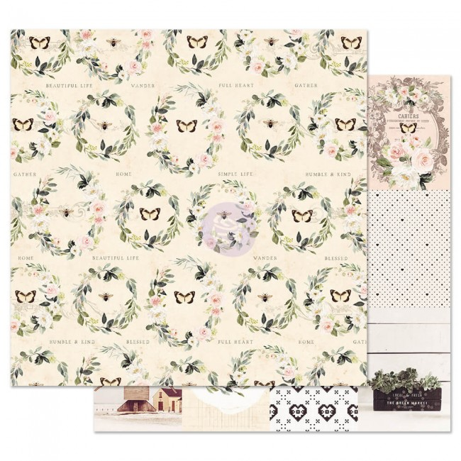 Papel Estampado Doble Cara 12x12 Spring Farmhouse Full Heart