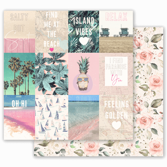 Papel Estampado Doble Cara 12x12 Golden Coast Summer Feeling