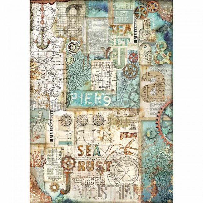 Papel de arroz decoupage A3 Mechanical Sea World Sea Rust