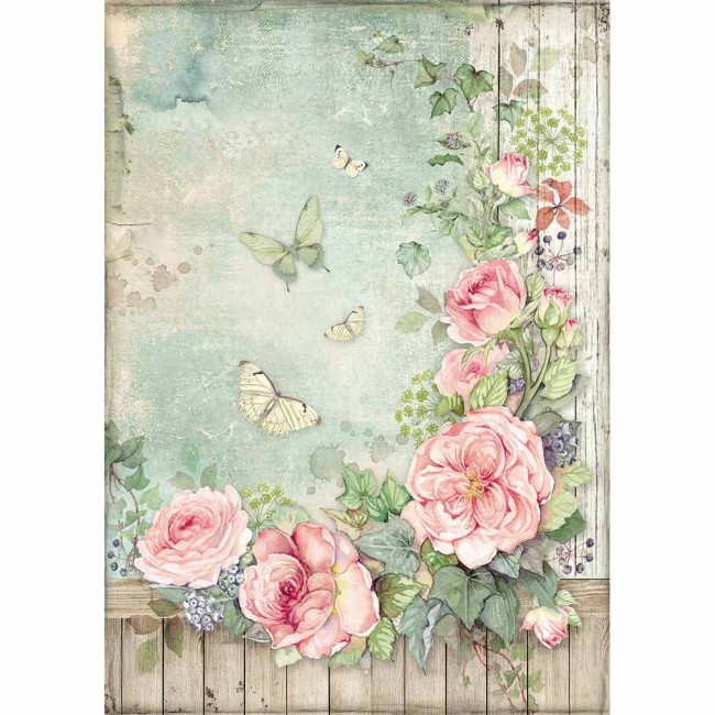 Papel de arroz decoupage A4 House Of Roses Roses Garden With Fence
