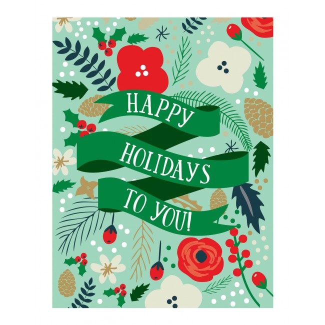 "Lámina Decorativa 11"" x 14"" Deck the Halls - Happy Holidays"