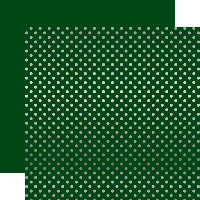 Papel Estampado Doble Cara 12x12 - Dots & Stripes - Dark Green W/Silver