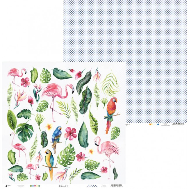 Papel Estampado Doble Cara 12x12 Let's Flamingle 07