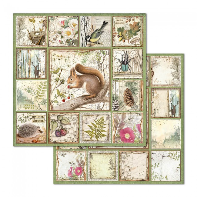 Papel Estampado Doble Cara 12x12 Forest Cristina Radovan Squirrel