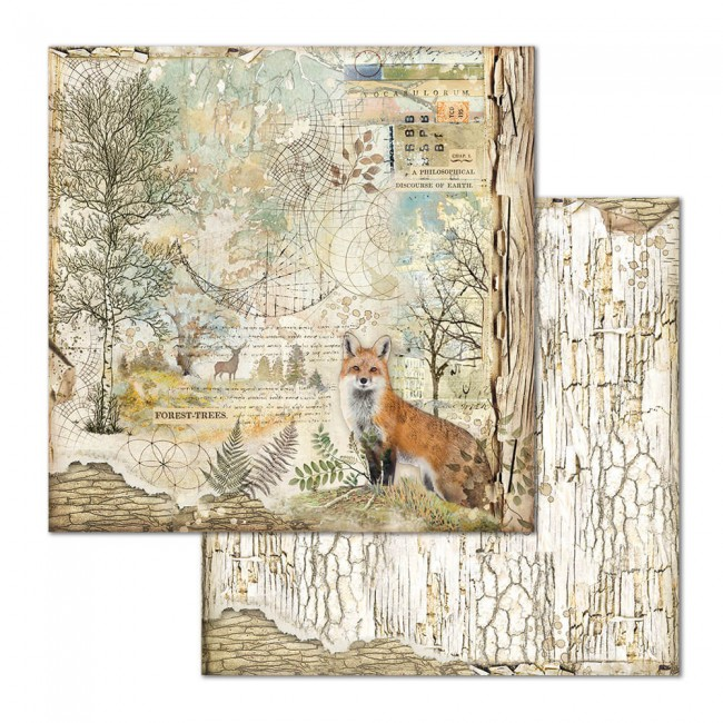 Papel Estampado Doble Cara 12x12 Forest Cristina Radovan Fox
