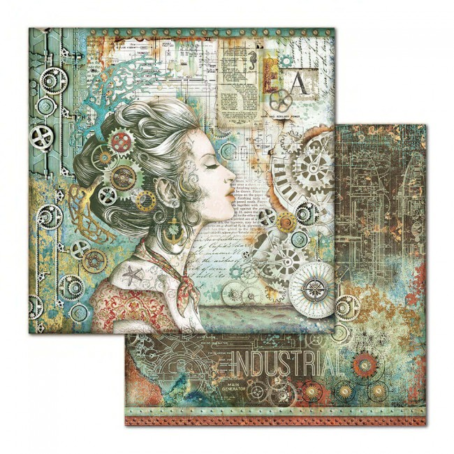 Papel Estampado Doble Cara 12x12 Mechanical Sea World Lady