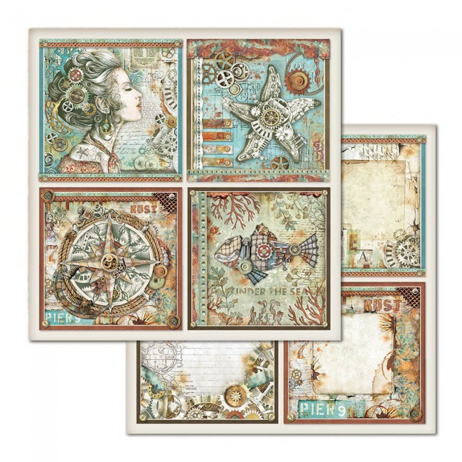 Papel Estampado Doble Cara 12x12 Mechanical Sea World Frames