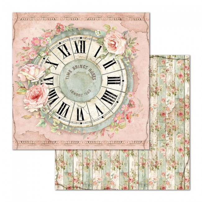 Papel Estampado Doble Cara 12x12 House Of Roses Clock