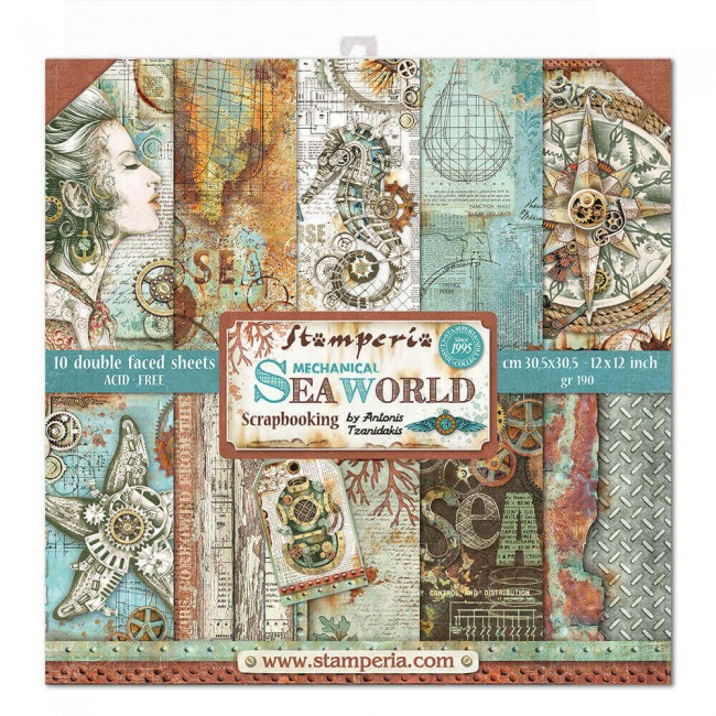 Kit Papeles Estampados 12x12 Mechanical Sea World