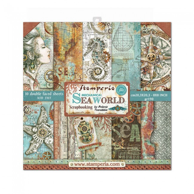 Kit Papeles Estampados 8x8 Mechanical Sea World