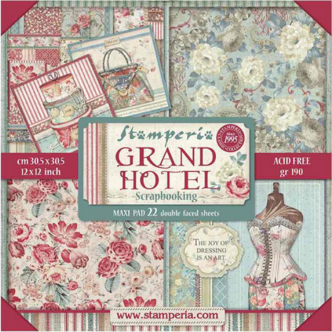 Kit Papeles Estampados 12x12 Grand Hotel Maxi
