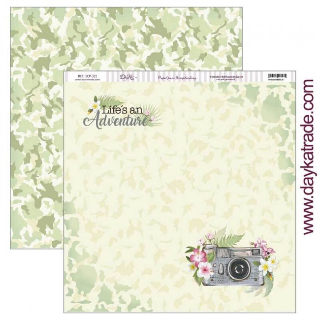 Papel Estampado Doble Cara 12x12 Fiesta Tropical Life´s an Adventure