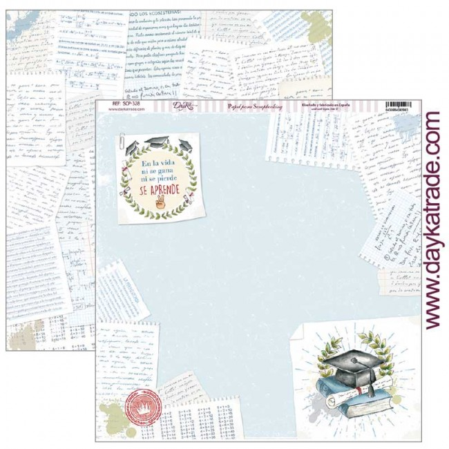 Papel Estampado Doble Cara 12x12 School Fin de curso