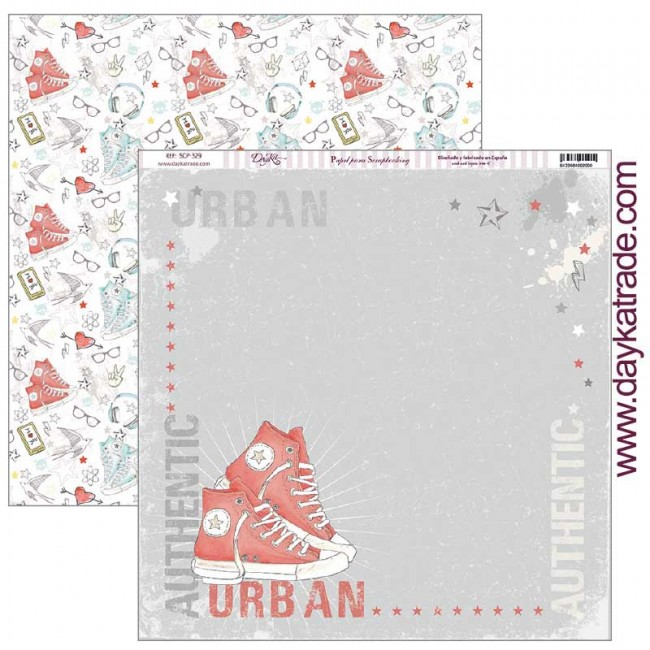 Papel Estampado Doble Cara 12x12 School Zapatilla