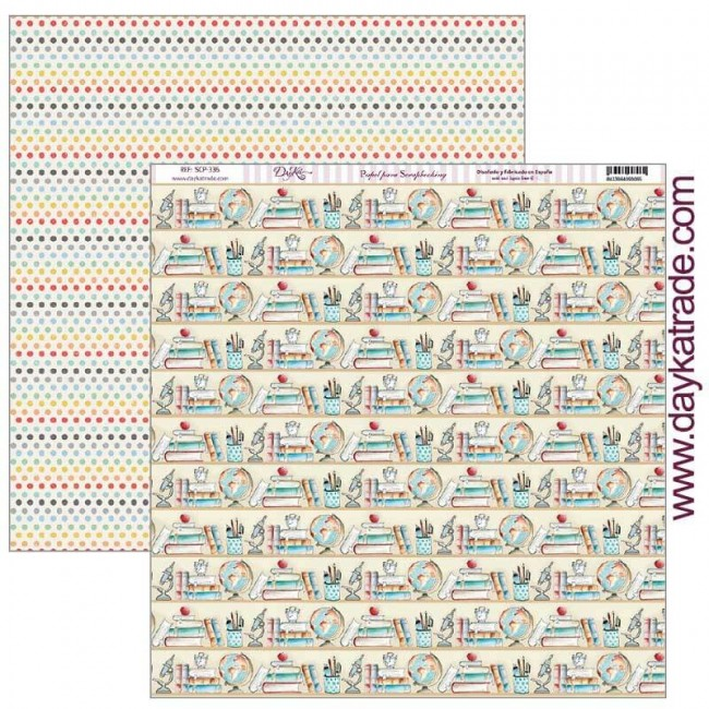 Papel Estampado Doble Cara 12x12 School Estanterias