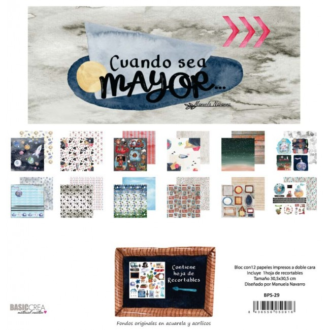 Kit Papeles Estampados 12x12 Doble Cara y Recortables Cuando Sea Mayor
