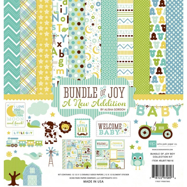 Kit papeles estampados 12x12 Bundle Of Joy 2 Boy